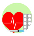 cardiac injections and tablets vector image vector image
