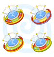 cartoon flying saucers vector image vector image