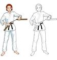 Caucasian Nunchuck girl in karategi vector image vector image