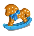 Childrens wooden rocking horse with blue bow vector image vector image
