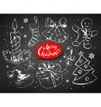 Christmas chalked line art set vector image
