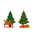 christmas tree with lights and presents vector image vector image