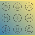 clothes icons line style set with cap jacket vector image vector image