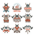 colored labels set with medieval barbarian vector image vector image