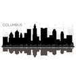 columbus ohio city skyline black and white vector image vector image
