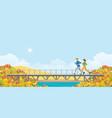 couple running on bridge in autumn vector image