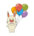 cute animal tender character with ballons party vector image vector image