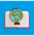 cute boy book open globe vector image