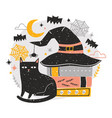 decorative halloween composition with cute black vector image vector image