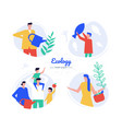 ecology - flat design style characters set vector image