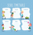 education diary or school timetable for pupils vector image vector image