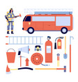 fireman and equipment professional rescue gear vector image