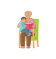 flat grandfather with girl kid reading book vector image vector image