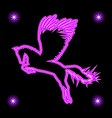 glowing silhouette flying in pegasus vector image vector image