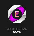 golden letter e logo in the silver-purple circle vector image