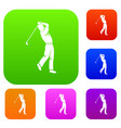 golf player set color collection vector image vector image