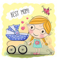 greeting card best mom vector image