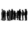 group people waiting in line silhouette vector image