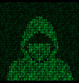 hacker on binary code background vector image vector image