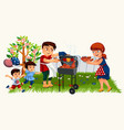 happy parents cooking tasty dinner on barbeque vector image