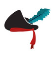 hat pirate accessory with feather style vector image