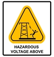 Hazardous voltage above warning banner vector image vector image