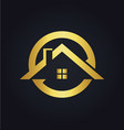 house icon roof gold logo vector image vector image