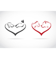 image of animal on heart shape vector image vector image