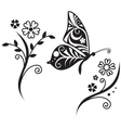 inwrought butterfly silhouette and flower vector image vector image