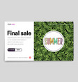 landing page -summer final sale leaves tropical vector image vector image