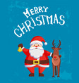 merry christmas greeting card santa claus and deer vector image