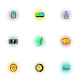 Messages over internet icons set pop-art style