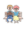 old couple in the chair with hairstyle vector image vector image