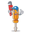 plumber screwdriver character cartoon style vector image vector image