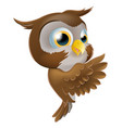 pointing cute owl vector image vector image