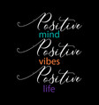 positive mind positive vibes positive life insp vector image