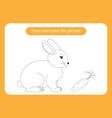 rabbit and carrot animals theme handwriting vector image vector image