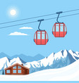 red ski cabin lift for skiers and snowboarders vector image vector image