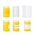 set white and yellow plastic medicine bottles vector image vector image