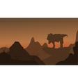 Silhouette of tyrannosaurus standing in rock vector image