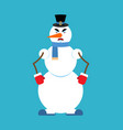 snowman angry snowman evil emoji new year and vector image