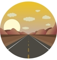 straight road ahead at sunrise in the mountains vector image vector image