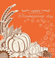 Thanksgiving day card with pumpkins and autumn vector image vector image