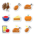 Thanksgiving Day food icons set - turkey pumpkin vector image
