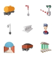 Train icons set cartoon style vector image vector image