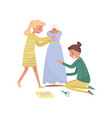 two young girls sews dress profession of fashion vector image