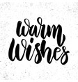 warm wishes text lettering phrase for christmas vector image