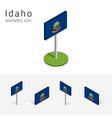 flag of idaho usa 3d isometric flat icons vector image