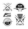 Vintage gun club labels logos emblems set vector image