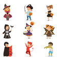 ute little kids in colorful halloween costumes vector image
